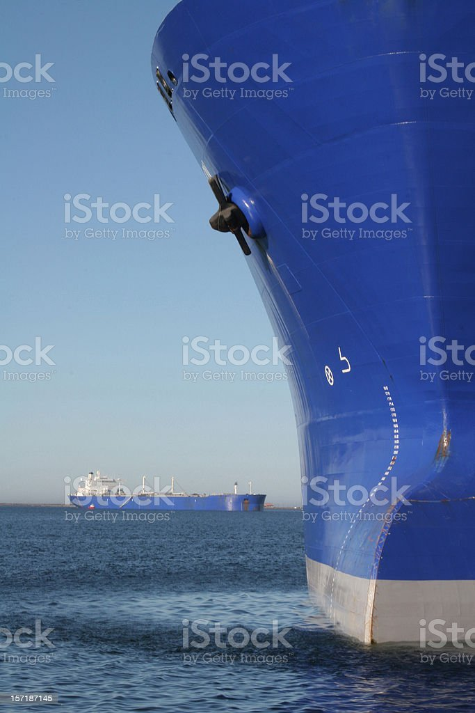 Two Oil Tankers Near and Far royalty-free stock photo