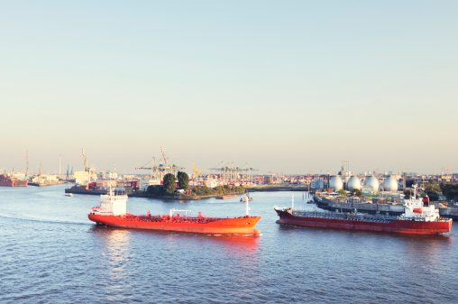 two oil tankers on river elbe