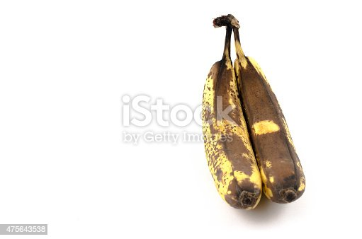 Rotten bananas on white background. Photo made with high quality photo studio.