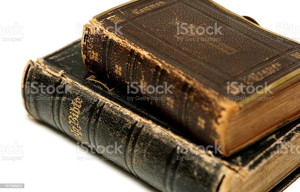 Two Old Bibles On White Background Stock Photo - Download