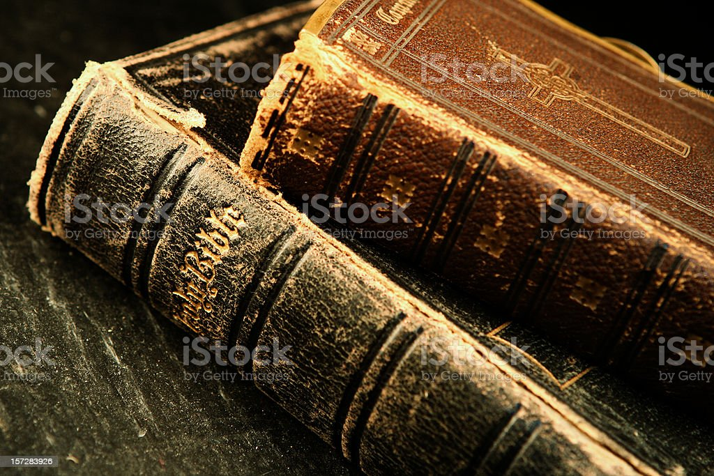 Two Old Bibles royalty-free stock photo