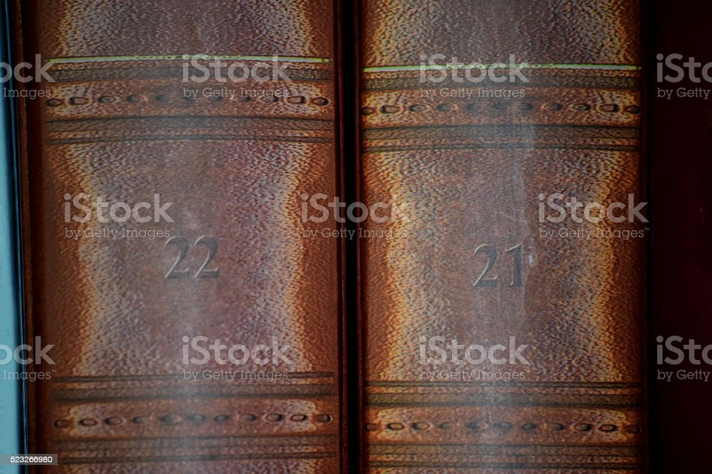 Two old books stock photo