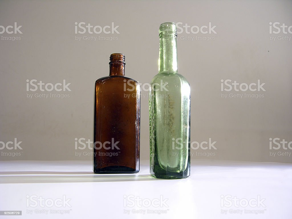 Two old bottles royalty-free stock photo