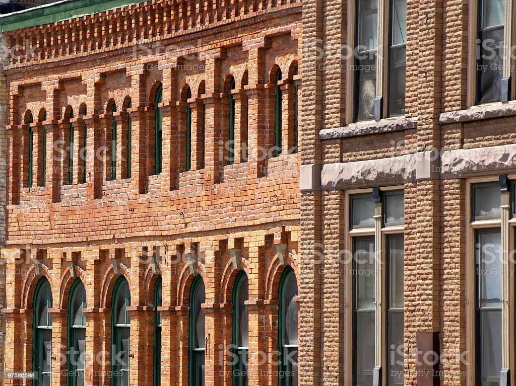 Two old brick buildings royalty-free stock photo