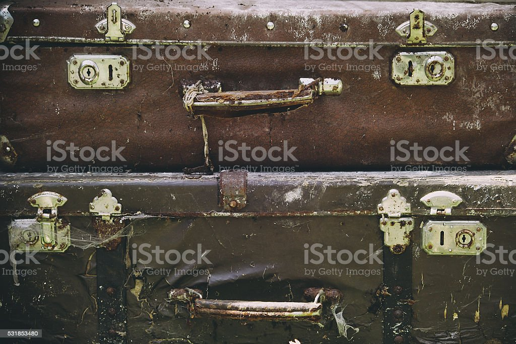 two old dirty suitcase stock photo