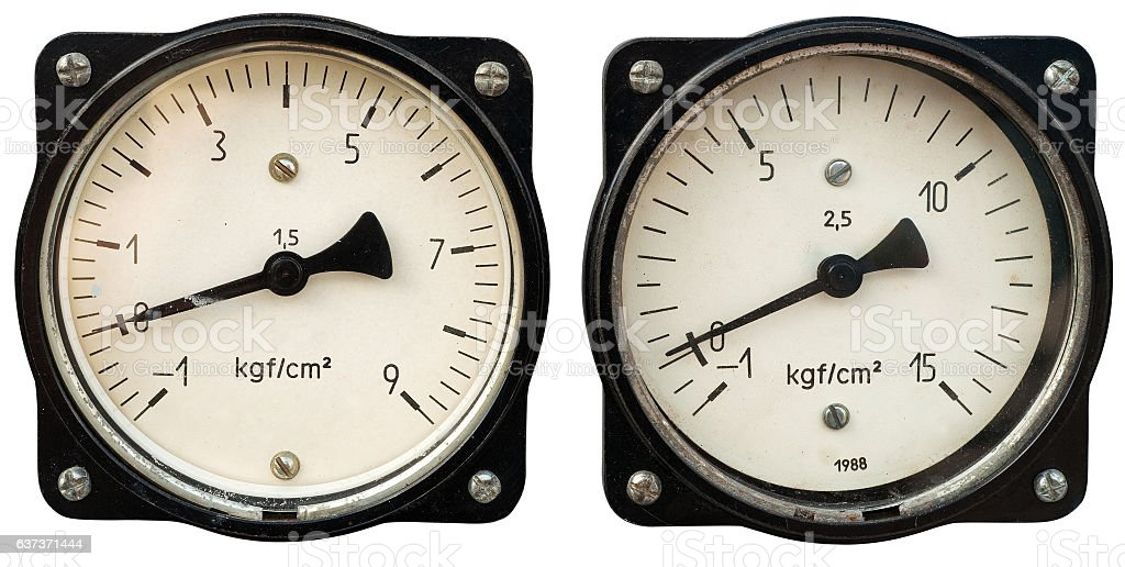 Two old meters stock photo