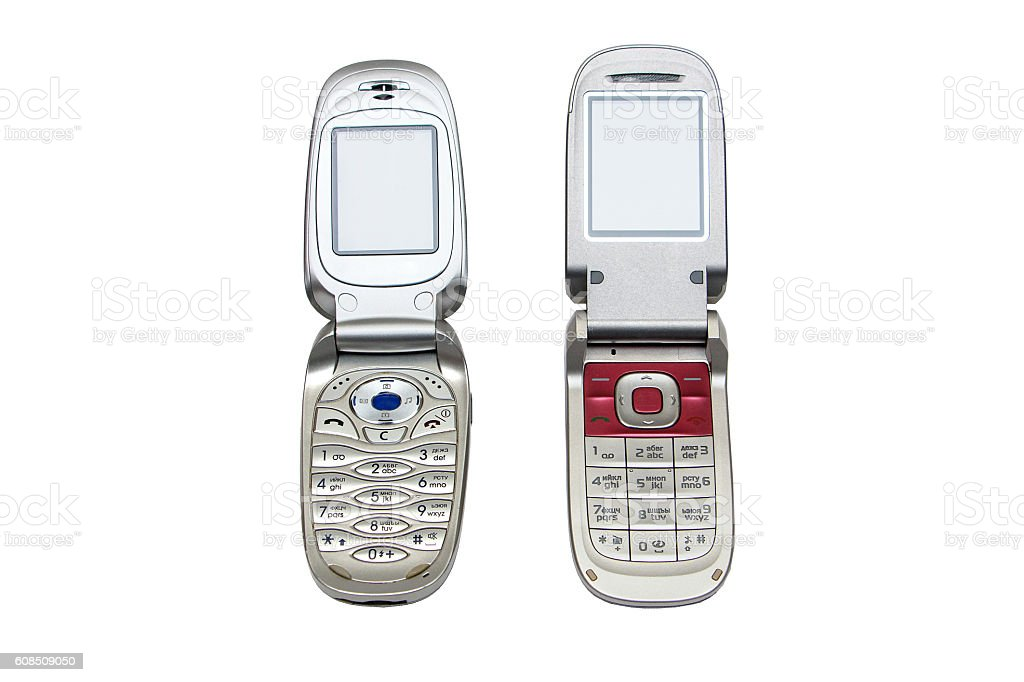 two old mobile phone stock photo