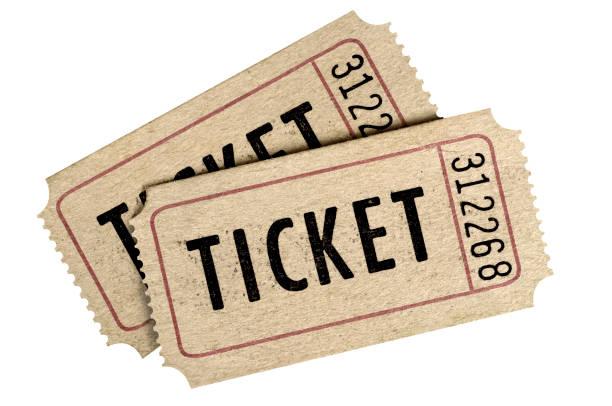 twee oude film ticket stub geïsoleerde witte achtergrond. - ticket stockfoto's en -beelden