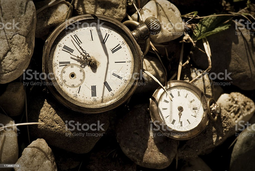 Two old pocket watches royalty-free stock photo