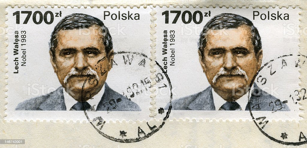 two old post stamps with Lech Walesa portrait royalty-free stock photo