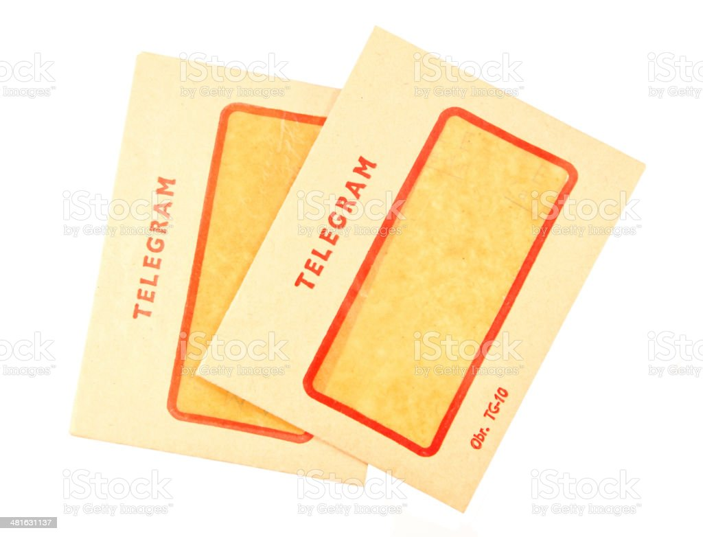 Two old telegram envelopes royalty-free stock photo