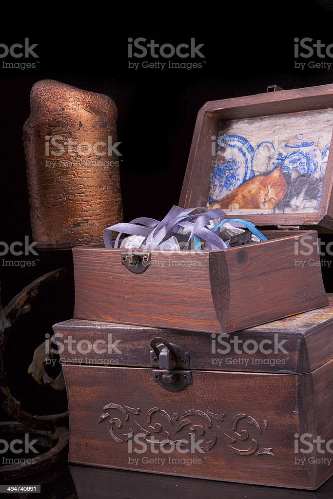 two old vintage chests patterns with a candle stock photo