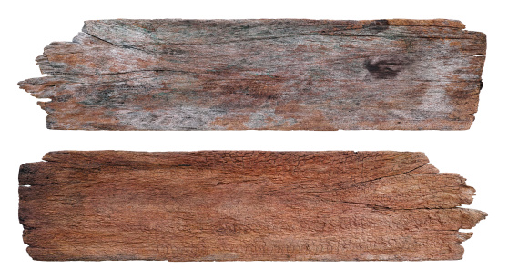 Two old vintage weathered, wood boards, isolated on white, clipping path included.