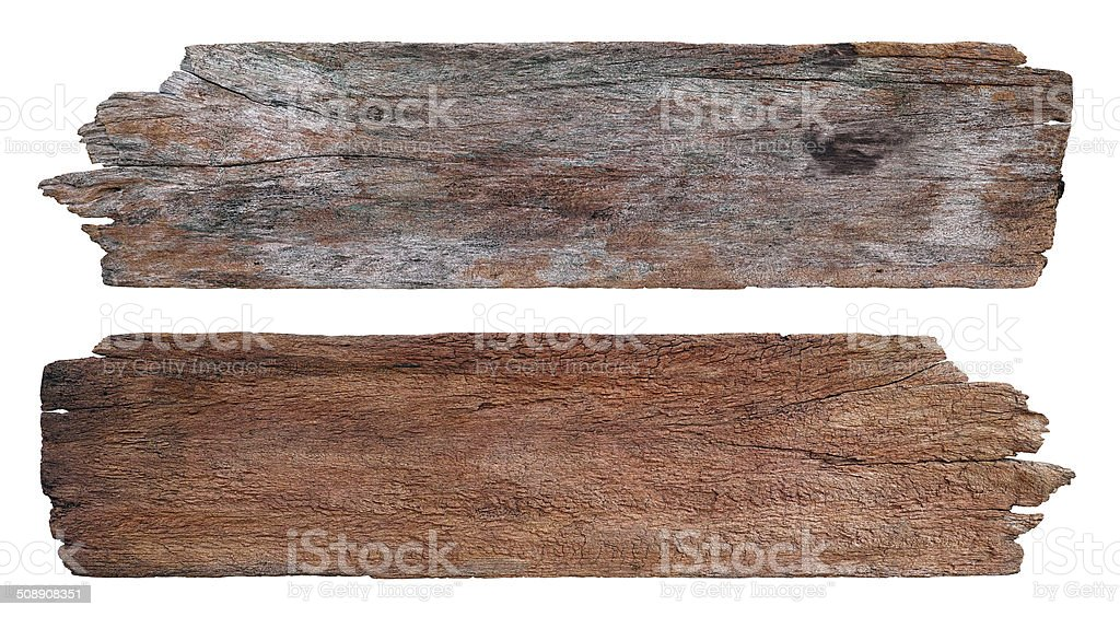 Two old weathered wood boards. stock photo