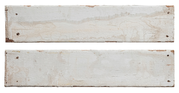Two old white weathered, mouldy wood boards, isolated on white, clipping path included.