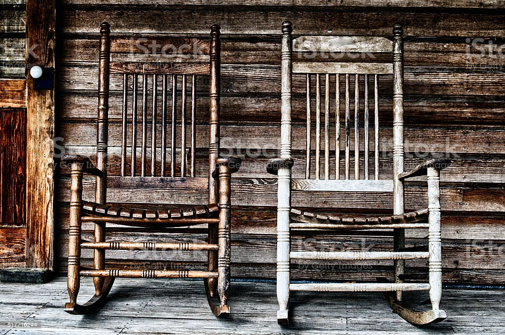 Two Old Wooden Rocking Chairs Stock Photo   Download Image Now