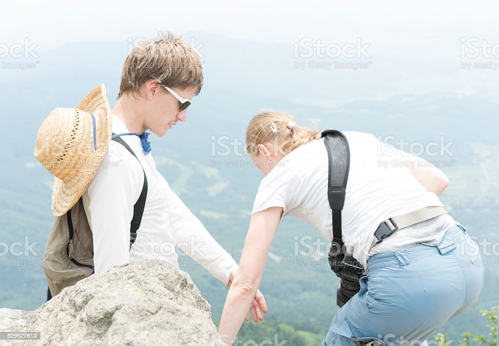 Two on top of Mount Tsukuba, Japan stock photo