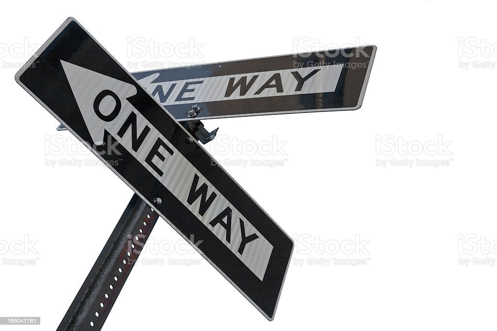Two one way signs pointing to different directions stock photo