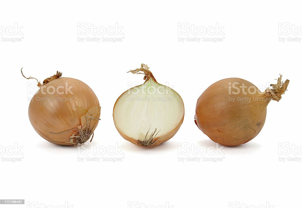 Two onions and a half royalty-free stock photo