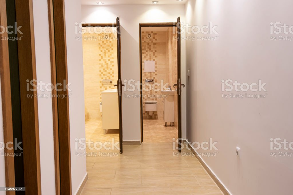 Two Open Doors To Big Modern Bathroom And Toilet Home Interior Stock Photo Download Image Now Istock