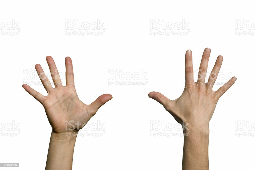 Two open hands diferent sides stock photo