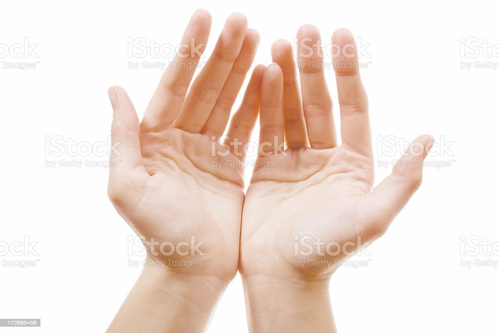two open hands on white royalty-free stock photo