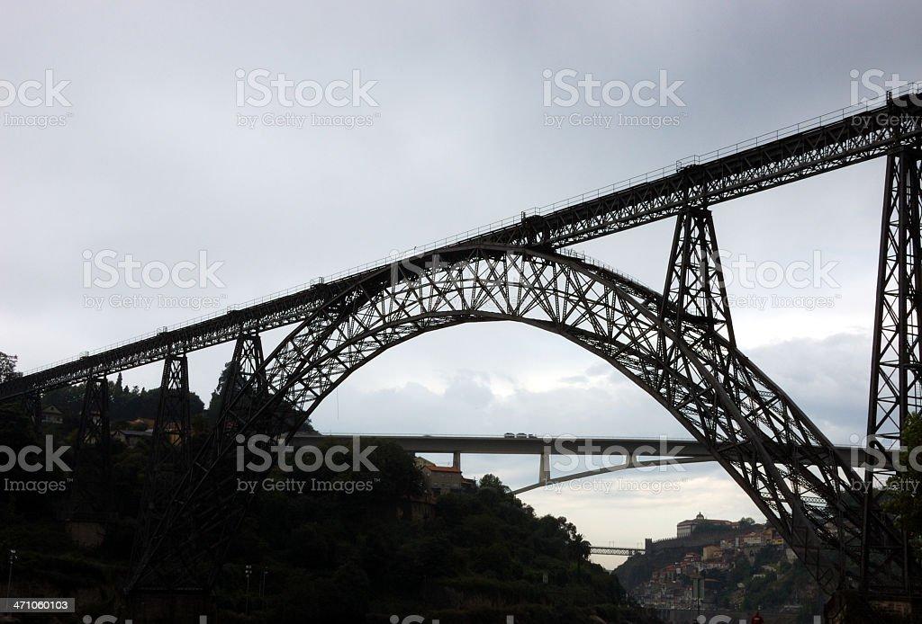 Two Oporto bridges stock photo