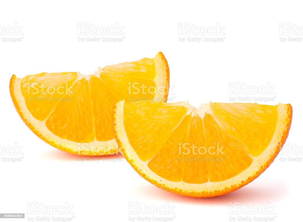 Two orange fruit segments or cantles stock photo