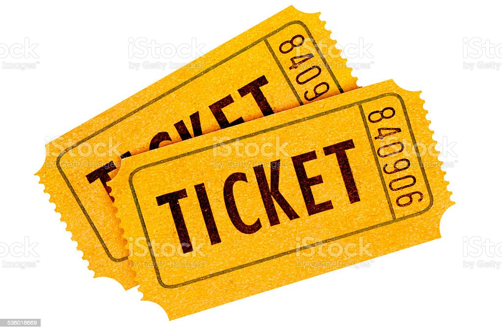 Two orange movie tickets isolated on a white background. stock photo