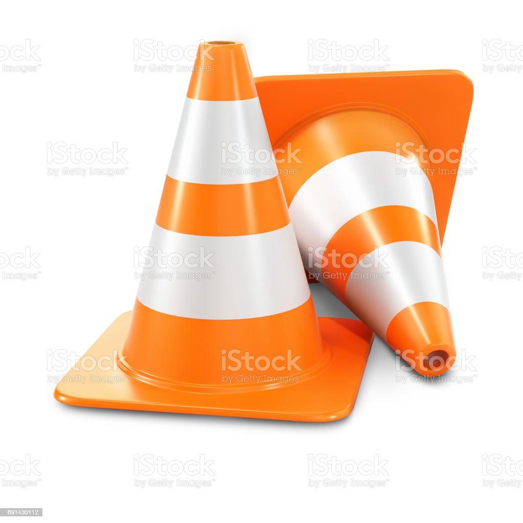 Two orange traffic cones stock photo