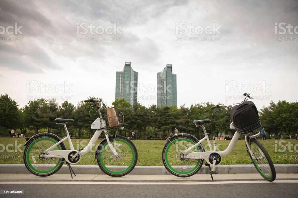 Two outdoor bikes stock photo