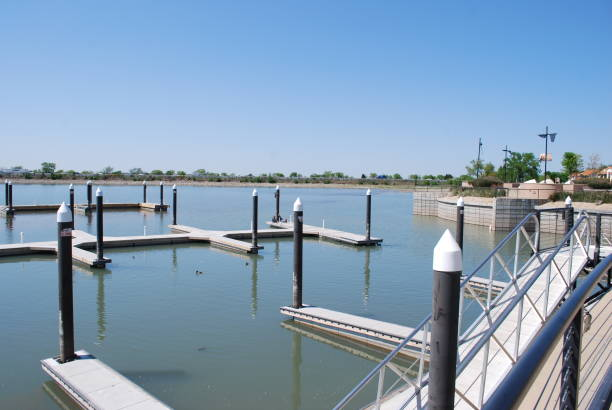 Two outer Marina docks at Lake Ray Hubbard Recreational Area stock photo