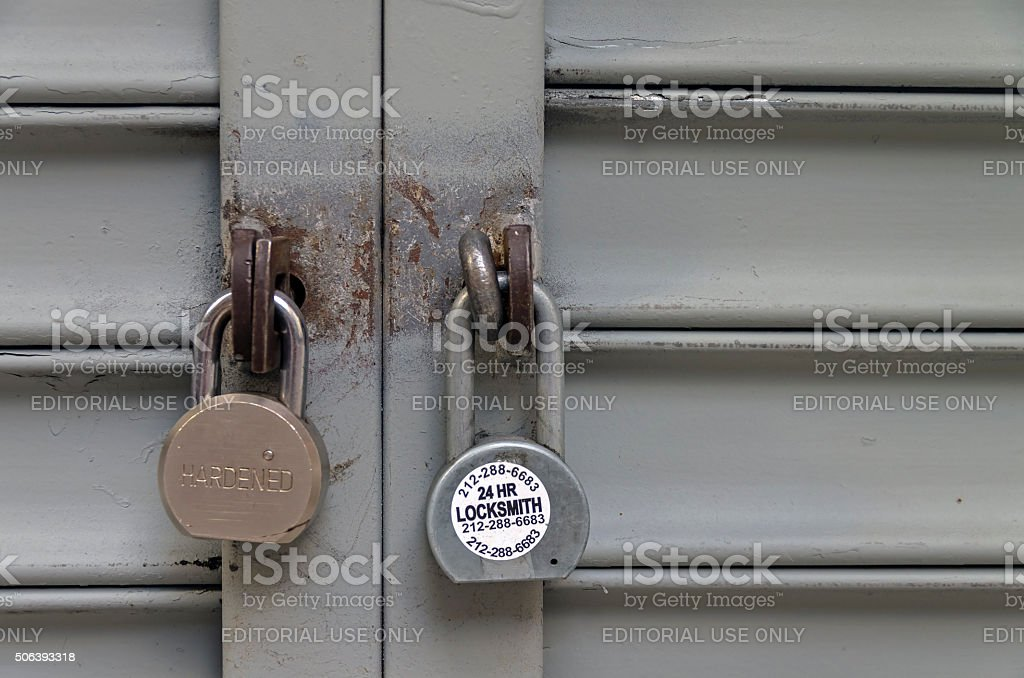 Two padlocks stock photo