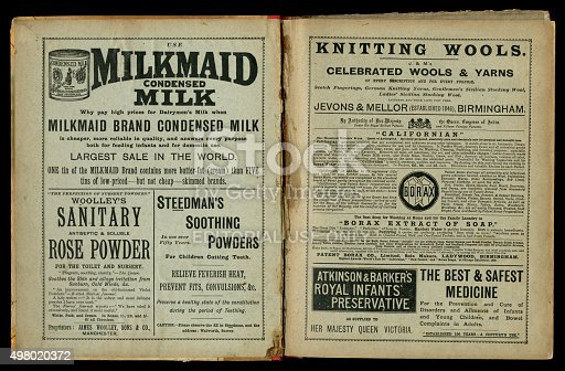 1070355804 istock photo Two pages of 1890s Victorian advertisements 498020372