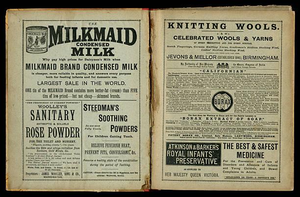 zwei seiten der 1890 im viktorianischen anzeigen - gebrauchte bücher verkaufen stock-fotos und bilder