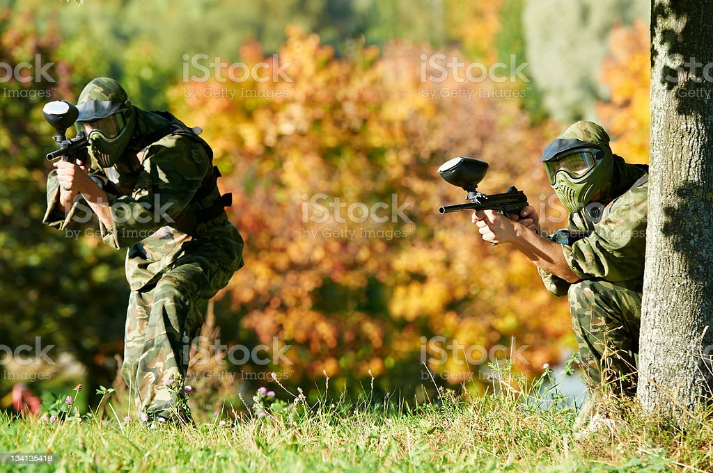 two paintball players royalty-free stock photo
