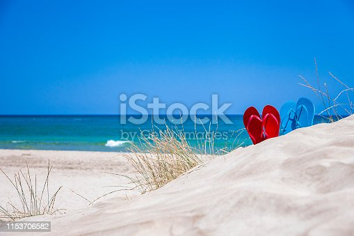 istock Two pairs of flip flops on sand against blue sky and sea with copy space 1153706582