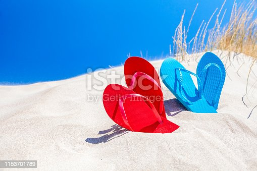 istock Two pairs of flip flops on white sand against blue sky with copy space 1153701789