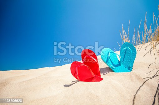 istock Two pairs of flip flops on white sand against blue sky with copy space 1153706620