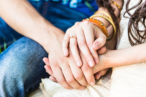 Two Pairs Of Hand Touch Stock Photo - Download Image Now