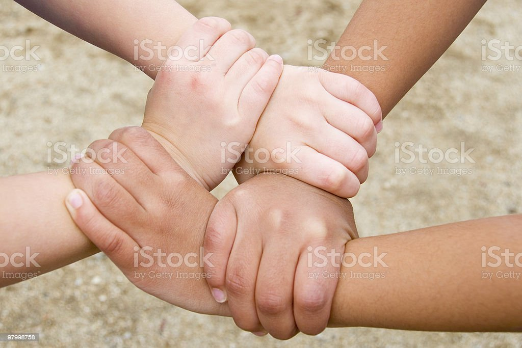 Two pairs of hands united. royalty free stockfoto
