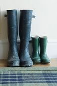 Parent and child's wellington boots at the front door. Space for copy.