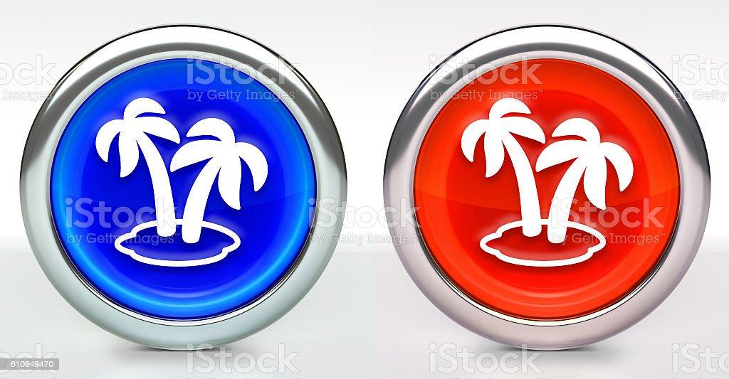 Two Palms Icon on Button with Metallic Rim stock photo