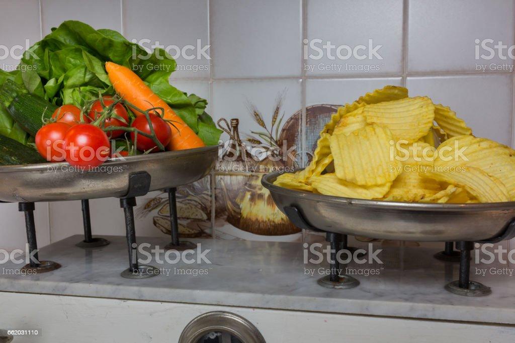 two pan balance royalty-free stock photo