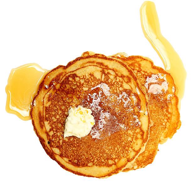 due frittelle con burro e sciroppo - pancake foto e immagini stock