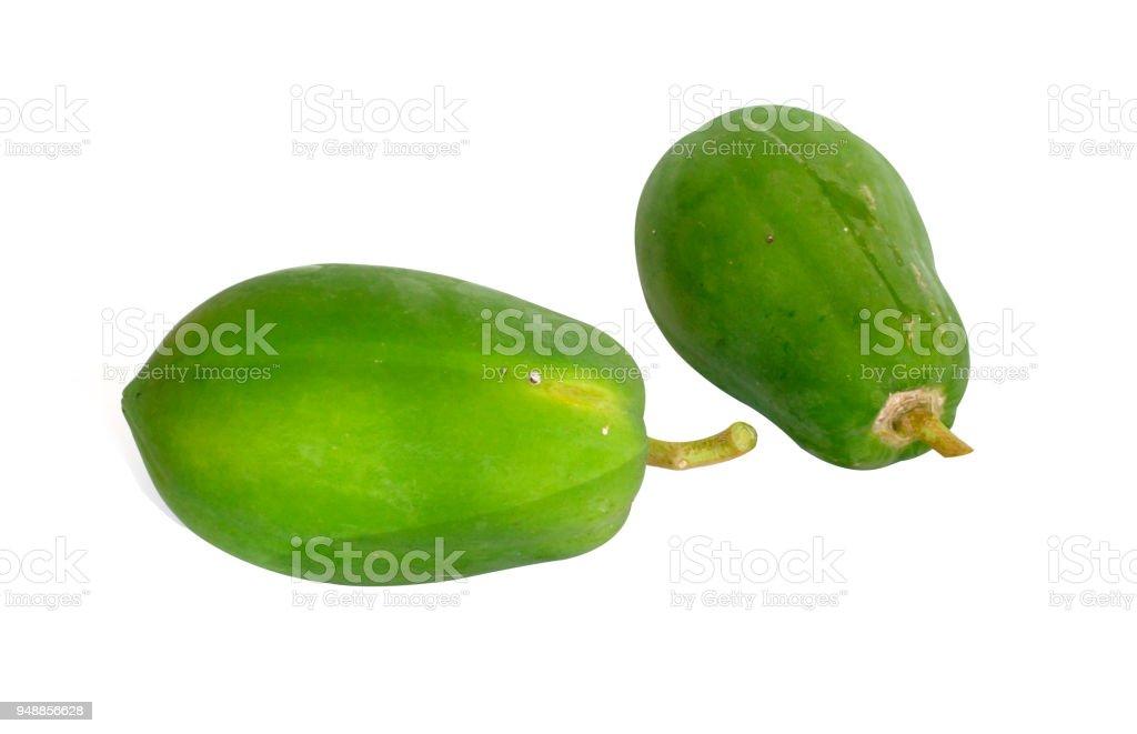 Two Papaya isoleted on the white background stock photo