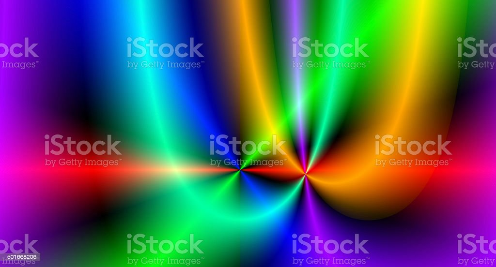 Two parabolas in spectrum colors having one intersection point stock photo