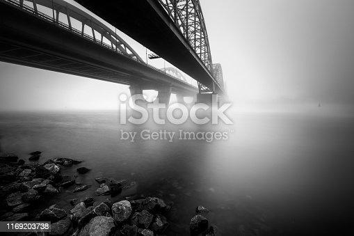 Two parallel bridges over foggy river. Long exposure shot. Dniepr. Kiev. Ukraine.