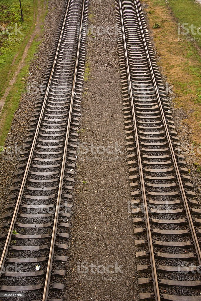 Two parallel rails, vertical stock photo