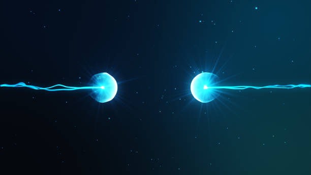 Two particles ready to collide to one another artistic image stock photo